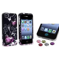 Black/ Purple Heart PVC Hard Case/ HOME Button Stickers for Apple iPhone 4/ 4S