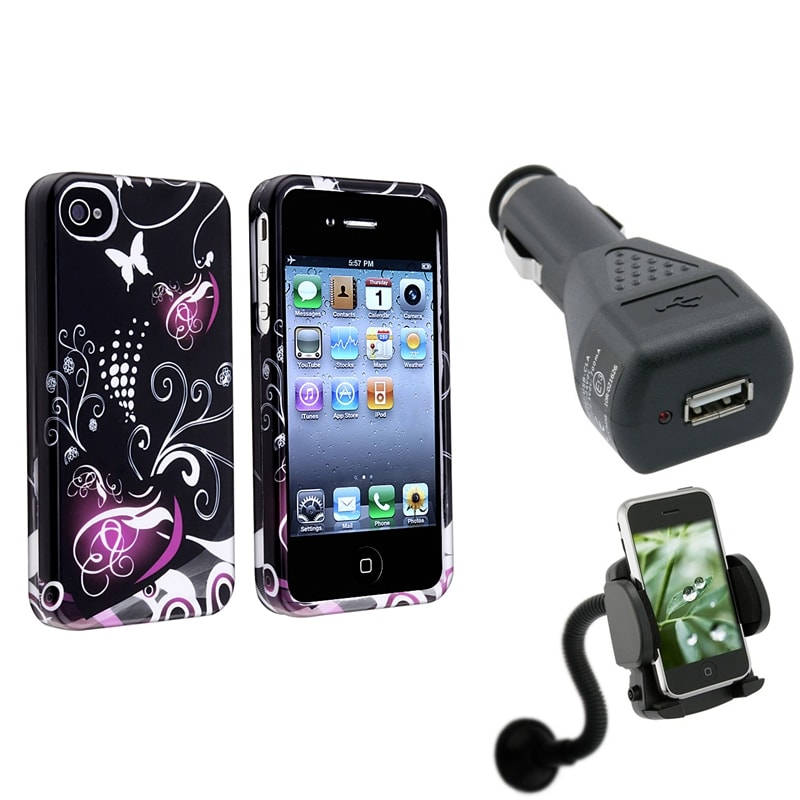 INSTEN Black/ Purple Heart Phone Case Cover/ Car Charger/ Windshield Phone Holder for Apple iPhone 4/ 4S