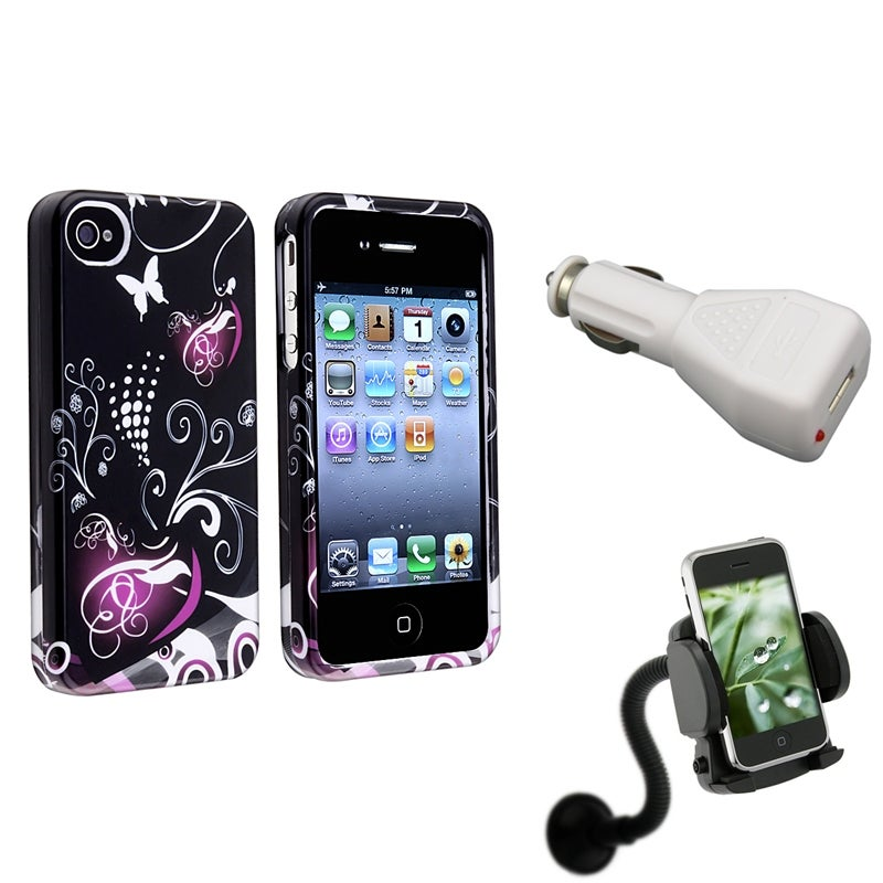 INSTEN Phone Case Cover/ Car Charger/ Windshield Phone Holder for Apple iPhone 4/ 4S
