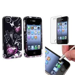 Black/Purple Heart Plastic Case/ LCD Protector/ Stylus for Apple iPhone 4/ 4S
