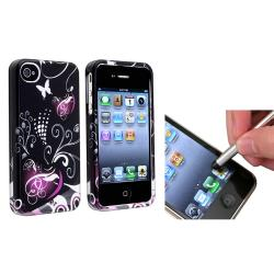 Black/Purple Heart Case/ Silver Stylus for Apple iPhone 4/ 4S