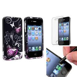 Black/Purple Heart Case/ LCD Protector/ Stylus for Apple iPhone 4/ 4S