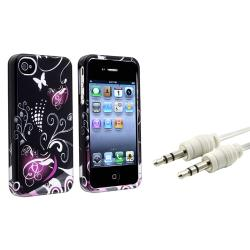 Heart Case/ White Audio Cable for Apple iPhone 4/ 4S