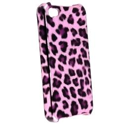 INSTEN Purple Leopard Phone Case Cover/ White Car Charger for Apple iPhone 4/ 4S