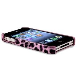 Purple Leopard Case/ White Travel Charger for Apple iPhone 4/ 4S