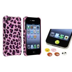 Purple Leopard Case/ HOME Button Stickers for Apple iPhone 4/ 4S