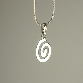 Oval Swirl Sterling Silver Snake Chain Necklace