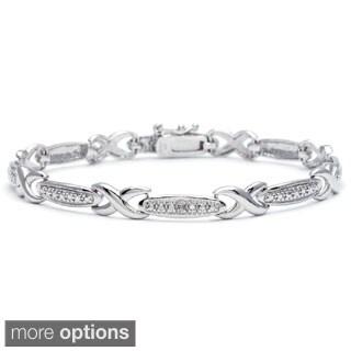 Silvertone Diamond Accent Infinity Link Bracelet