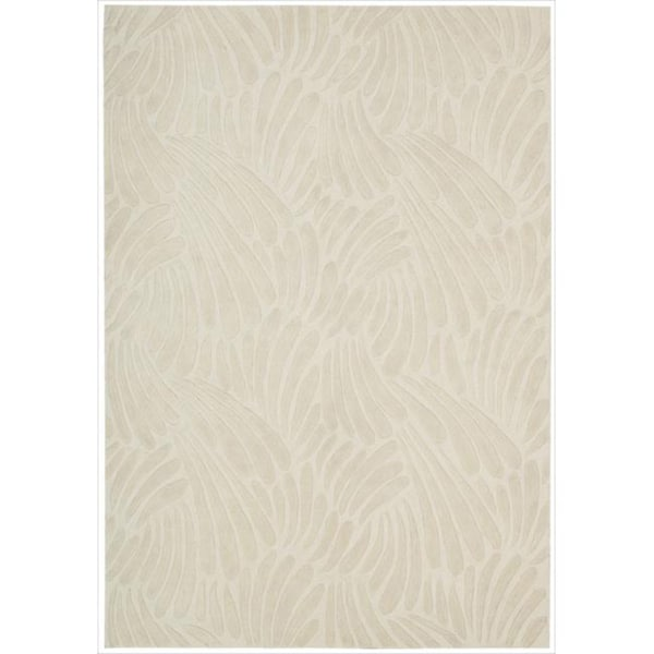 Nourison Hand-tufted Contours Striped Ivory Rug (8' x 10'6)