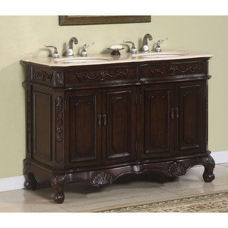 Antiope 50-inch Double Vanity with Cream-rose Marble Top
