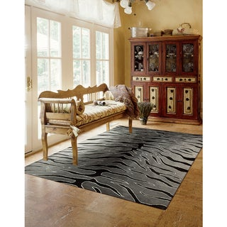 Nourison Hand-tufted Contours Animal Print Black Grey Rug (7'3 x 9'3)