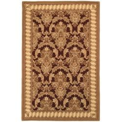 Hand-hooked Chelsea Leaves Brown Wool Rug (8'9 x 11'9)