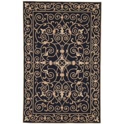 Hand-hooked Chelsea Irongate Black Wool Rug (8'9 x 11'9)