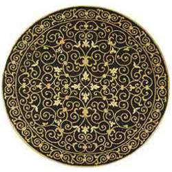 Hand-hooked Chelsea Irongate Black Wool Rug (4' Round)