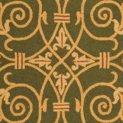 Hand-hooked Chelsea Irongate Light Green Wool Rug (7'6 x 9'9)