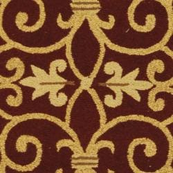 Hand-hooked Chelsea Irongate Burgundy Wool Rug (2'6 x 12')