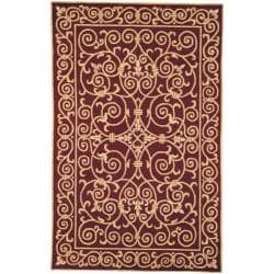 Hand-hooked Chelsea Irongate Burgundy Wool Rug (8'9 x 11'9)