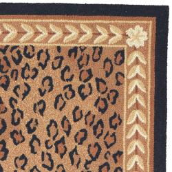 Hand-hooked Chelsea Leopard Brown Wool Rug (6' x 9')