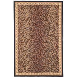 Hand-hooked Chelsea Leopard Brown Wool Rug (8'9 x 11'9)