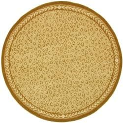 Hand-hooked Chelsea Leopard Ivory Wool Rug (8' Round)
