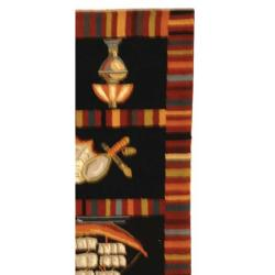 Safavieh Hand-hooked Chelsea Sail Boat Black Wool Rug (5'3 x 8'3)