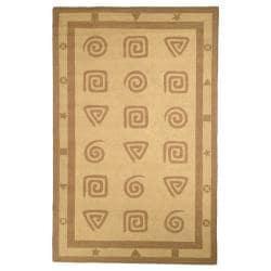 Safavieh Hand-hooked Geo Beige Wool Rug (7'6 x 9'9)