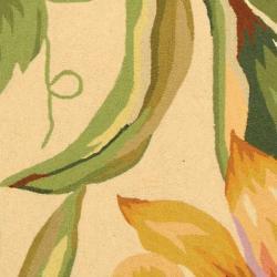 Hand-hooked Botanical Ivory Wool Rug (7'6 x 9'9)