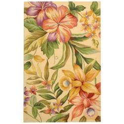 Safavieh Hand-hooked Botanical Ivory Wool Rug (7'6 x 9'9)