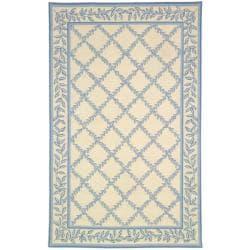 Hand-hooked Trellis Ivory/ Light Blue Wool Rug (3'9 x 5'9)