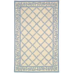 Safavieh Hand-hooked Trellis Ivory/ Light Blue Wool Rug (7'6 x 9'9)