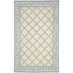 Hand-hooked Trellis Ivory/ Light Blue Wool Rug (8'9 x 11'9)