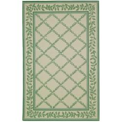 Safavieh Hand-hooked Trellis Ivory/ Light Green Wool Rug (8'9 x 11'9)