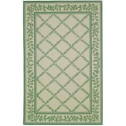 Hand-hooked Trellis Ivory/ Light Green Wool Rug (8'9 x 11'9)