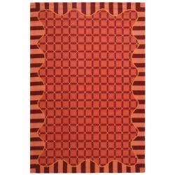 Hand-hooked Chelsea Wine Red Wool Rug (8'9 x 11'9)
