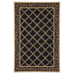 Safavieh Hand-hooked Trellis Black/ Beige Wool Rug (6' x 9')