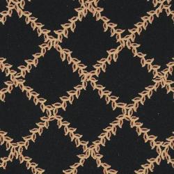 Safavieh Hand-hooked Trellis Black/ Beige Wool Rug (7'6 x 9'9)