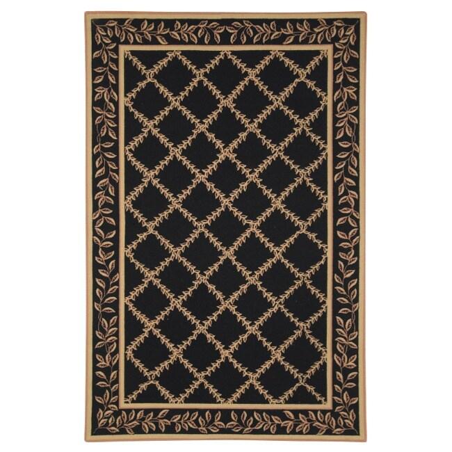 Safavieh Hand-hooked Trellis Black/ Beige Wool Rug (8'9 x 11'9)