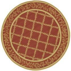 Safavieh Hand-hooked Trellis Rust/ Beige Wool Rug (3' Round)
