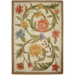 Safavieh Hand-hooked Garden Scrolls Ivory Wool Rug (1'8 x 2'6)