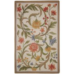 Hand-hooked Garden Scrolls Ivory Wool Rug (2'6 x 4')