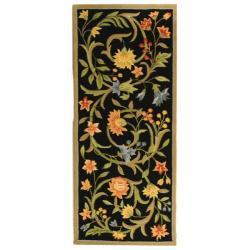 Safavieh Hand-hooked Garden Scrolls Black Wool Rug (2'6 x 12')