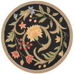 Hand-hooked Garden Scrolls Black Wool Rug (3' Round)