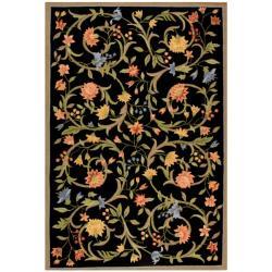Hand-hooked Garden Scrolls Black Wool Rug (8'9 x 11'9)