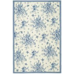 Hand-hooked Garden Ivory/ Blue Wool Rug (6' x 9')