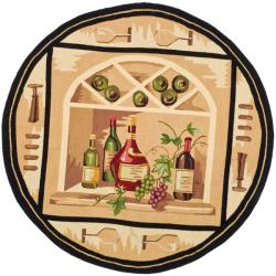Hand-hooked Winery Gold/ Multi Wool Rug (5'6 Round)