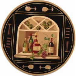 Safavieh Hand-hooked Winery Black/ Multi Wool Rug (3' Round)