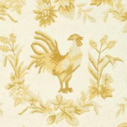 Hand-hooked Hens Ivory/ Gold Wool Rug (7'6 x 9'6 Oval)