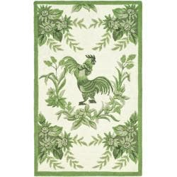 Hand-hooked Hens Ivory/ Green Wool Rug (1'8 x 2'6)