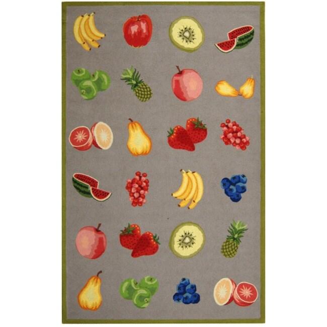 Safavieh Hand-hooked Chelsea Fruits Grey Wool Rug (7'6 x 9'9)