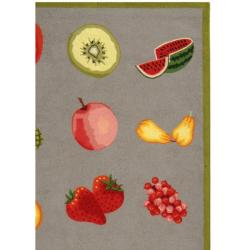 Hand-hooked Chelsea Fruits Grey Wool Rug (7'6 x 9'9)